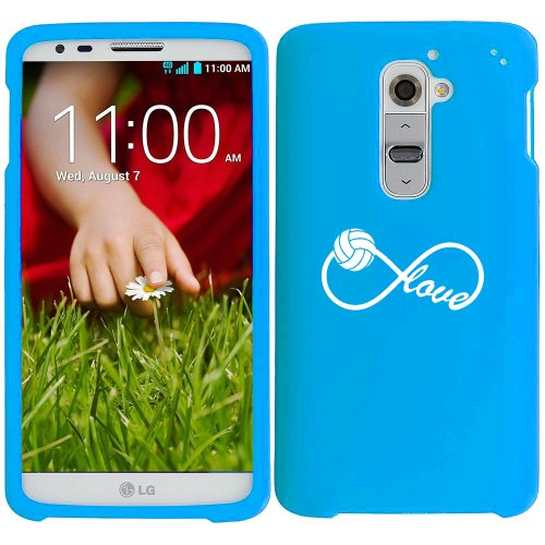T-mobile G2 Two Piece - For LG G2 AT&T Sprint T-Mobile Snap On 2 Piece Rubber Hard Case Cover Infinity Infinite Love for Volleyball (Light Blue)