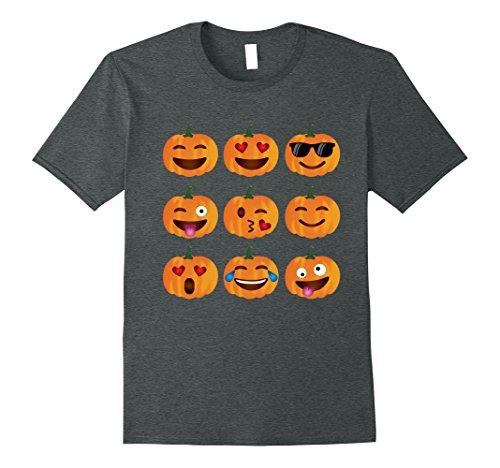 Mens Pumpkin Emoji T-Shirt, Pumpkin Shirt Emoji Halloween Costume 2XL Dark Heather -