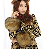 2014 Luxury multicolor Faux Fox Fur Wristband Arm Warmer Cuff Oversleeve Gloves all-match Cufflinks Brown