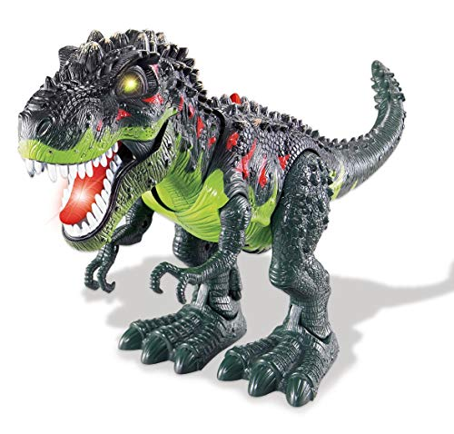 Tyrannosaurus T-Rex Walking Dinosaur Toys for Kids - with Lights & Realistic Sounds - Battery Operated Green Color - Jurassic Trex Dinosaur Action Toy Figure Walking Moving Glowing Dino Figure