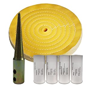 """(1) Yellow 6"""" Cotton Buff, (1) Buffing Compound 4pk, (1) Tapered Spindle Kit"""