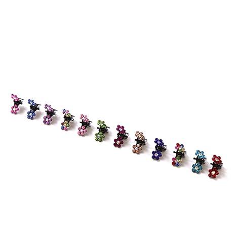 Bobury 12PCS Niñas Pequeñas Flores de Cristal Garras de Pelo de Metal Niños  Mini Pinza de fdb081b52983
