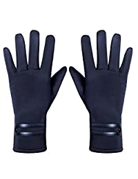 GLOUE Women's ScreenTouch Gloves Warm Weather Lined Thick Touch Warmer Winter Gloves (Black1)