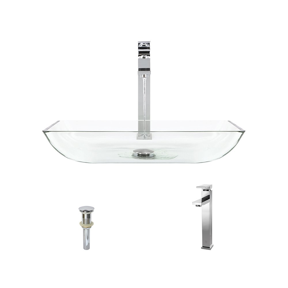 640 Crystal Chrome Bathroom 721 Vessel Faucet Ensemble Bundle – 3 Items Vessel Sink, Vessel Faucet and Pop-Up Drain