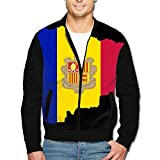 988Iron Flag Map Of Andorra Men's Full-Zipper Hoodie Jacket
