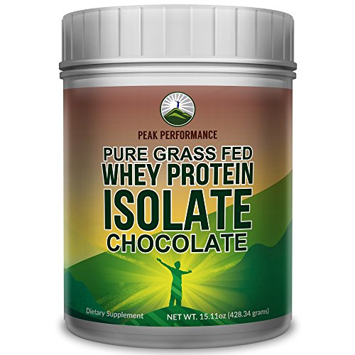 Peak Performance Pure Grass Fed Whey Protein ISOLATE Powder - Soy Free, No Artificial Sweeteners, NO Hormones. Better Alternative To Whey Concentrate (Chocolate, 1LB)