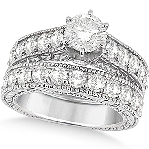 Women's Antique Diamond Wedding and Engagement Ring Set Palladium (3.15ct)