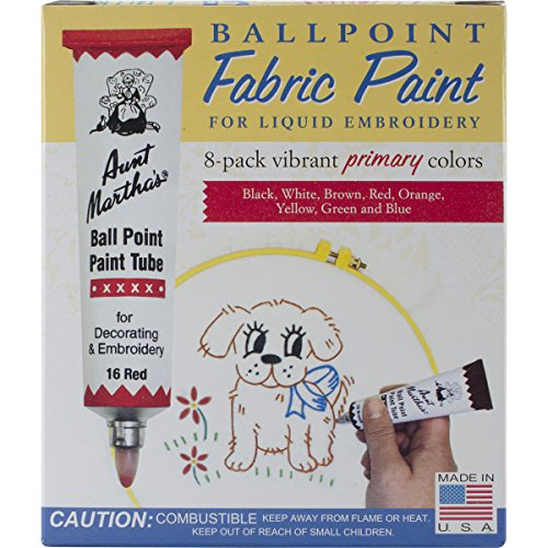 Aunt Martha's Ballpoint 8-Pack Embroidery Paint, Primary - Star Point Embroidery