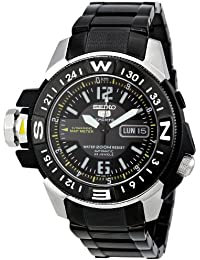 Mens Automatic Black Ion Plated Stainless Steel Sport Watch, Color:Black (Model: Seiko