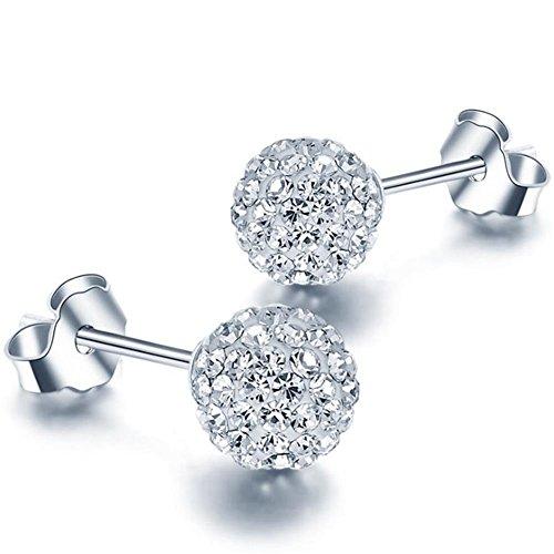 925 Sterling Silver Crystal Button Stud Earrings, (6mm 8mm)
