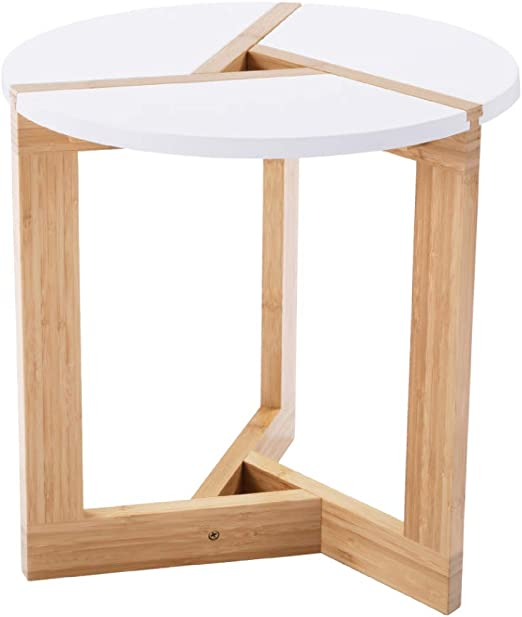 Amazon Com Wilshine Small Round End Table White Side Table With