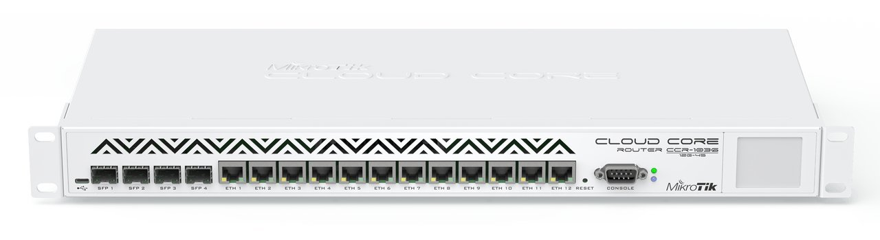 Mikrotik RouterBoard CCR1036-12G-4S Extreme Performance Cloud Core Router  with Twelve-10 100 1000 ethernet ports 4 SFP ports and RouterOS Level 6