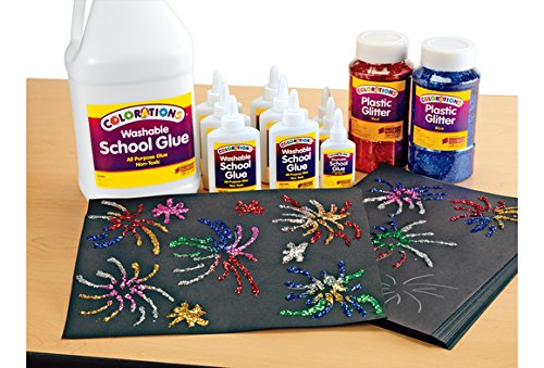 Colorations Extra-Safe Plastic Glitter, 1 lb. - Set of All 12 (Item # GLSET) by Colorations