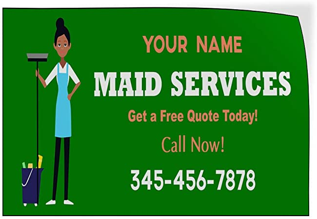 Custom Door Decals Vinyl Stickers Multiple Sizes Maid Service Phone Number Blue Business Maid Services Outdoor Luggage /& Bumper Stickers for Cars Blue 69X46Inches 1 Sticker