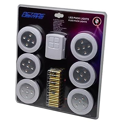 "Home 4"" Kitchen Closet Under Cabinet LED Wireless Puck Lighting Lites Lights w/ Remote & Batteries - (6 Pack) By Octane Lighting"