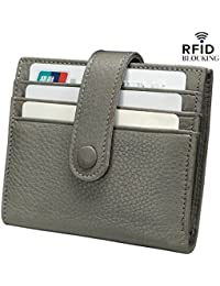 Women's RFID Blocking Small Compact Bifold Leather Pocket Wallet with ID Window