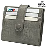 Reeple Women's RFID Blocking Small Compact Bifold Leather Pocket Wallet with ID Window(Grey)