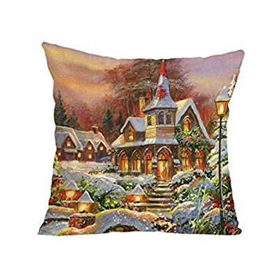NUWFOR Merry Christmas Pillow Cases Soft Sofa Cushion Cover Home Decor Pillow Core White