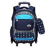 Wheeled Backpack - Durable Rolling Daypack Large Capacity School Bag Stylish Daypack