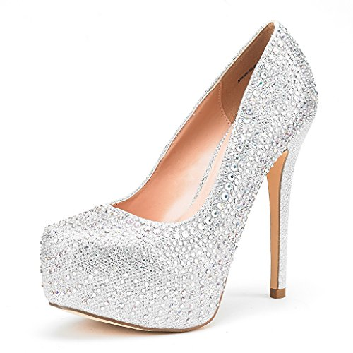DREAM PAIRS Women's Swan-30 Shine Silver High Heel Plaform Dress Pump Shoes - 6 M US ()