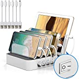 JZBRAIN Multi Device Charging Station White 5 Port USB Charger Dock Organizer Phones Tablets Other Devices