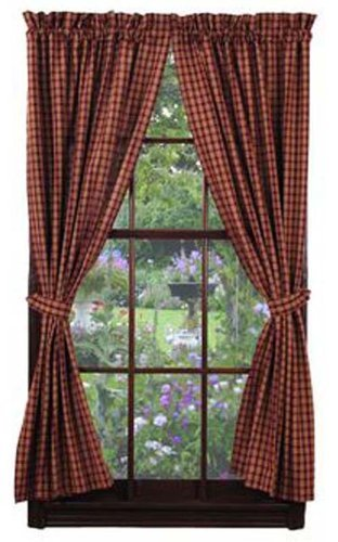 IHF New Panel Cambridge Wine Window Treatments Unlined 100% Cotton 72 Inch x 63 Inch For Sale