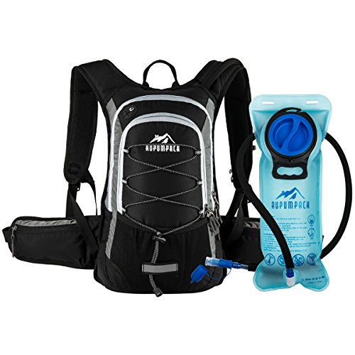 Hydration Daypacks - RUPUMPACK Insulated Hydration Backpack Pack with 2L Water Bladder - Keeps Liquid Cool up to 4 Hours, Prefect Outdoor Gear for Hiking, Running, Cycling, Camping, Skiing, Black+Grey