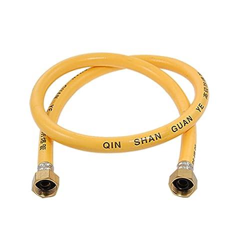 Tornillo montado en goma flexible de gas manguera del 80cm de cuerpo entero Amarillo