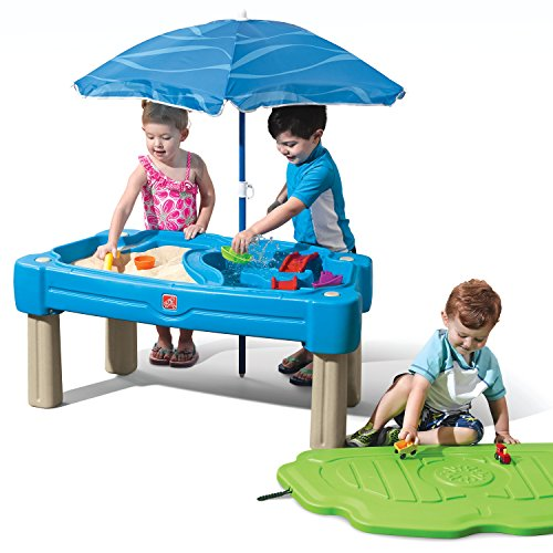 Step2 Cascading Cove Sand & Water Table | Kids Sand & Water Play Table with Umbrella | 6-Pc Accessory Set Included