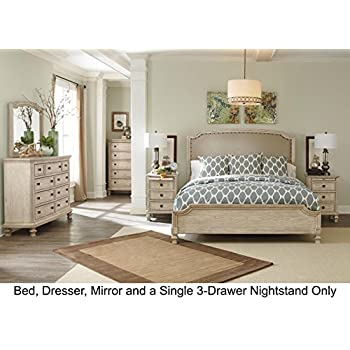 ashley bedroom sets. Ashley Demarlos Queen Bedroom Set with Upholstered Panel Bed Dresser Mirror  and 3 Drawer Nightstand Amazon com B693 4 pc King In Home