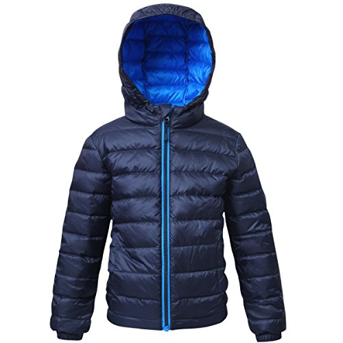 Rokka&Rolla Boys' Ultra Lightweight Hooded Packable Puffer Down Jacket (XL (14/16), Night Sky)