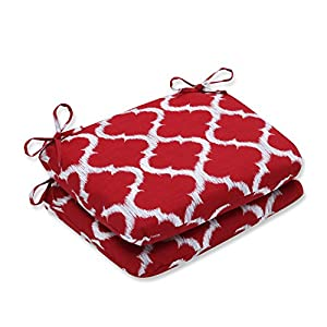 Pillow Perfect Outdoor/Indoor Kobette Rounded Corners Seat Cushion (Set of 2), Red