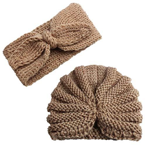(2Pcs Infant Baby Knitted Beanie Cap Bowknot Headband, Iuhan Newborn Baby Boy Girl Knitted Turban Hat Hair Band Beanie Headwear Cap Sets)