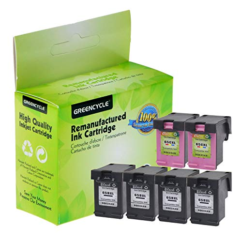 GREENCYCLE Re-Manufactured 65XL 65BXL 65CXL Ink Cartridge Replacement for HP Envy 5058 5055 5052 Deskjet 2622 2655 3755 3758 3720 3730 Printer, with New Version chip (Black 4 Pack, Tir-Color 2 Pack) -  GREENCYCLE TECH INC, M-NEW-65BXL-4PK+65CXL-2PK