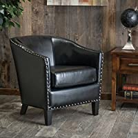 Modern Austin Black Bonded Leather Club Chair with Silver Studs Line the Base and Sides, This Attractive Chair Exudes Old World Charm and a Casual Elegance