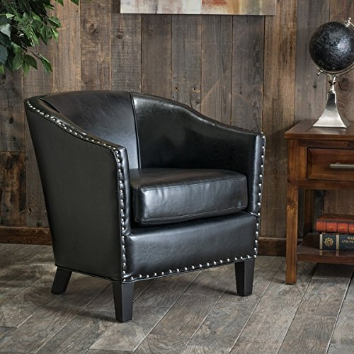 Modern Austin Black Bonded Leather Club Chair with Silver Studs Line the Base and Sides, This Attractive Chair Exudes Old World Charm and a Casual ()