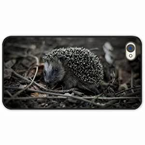 iPhone 4 4S Cover Case Black Unique Design Beasts escaping hedgehog 25065