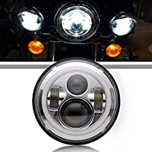 TURBOSII DOT Chrome Daymaker Angel Eye 7In Round LED Headlight With DRL Amber Turn Singal Hi/Lo Beam For HD Road King,Ultra Classic, Softtail, FLHTK, Electra Glide, Fatboy, Street Glide, Yamaha, Honda