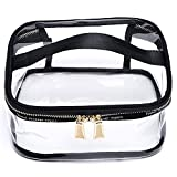 YOUNGBEST Transparent Toiletry Bag Portable Clear Makeup Cosmetics Bag Zipper Waterproof With Handle Travel Organizer Case (Square)