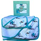Land of the Wee, Bamboo Towel with Hood & Washcloth Baby Bath Set, Infant to Toddler