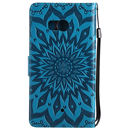 Funda HTC U11 - Alta Calidad Flip PU Cuero Caso Sol Patrón en Relieve /Stent/Billetera/Con el Sostenedor de Tarjeta/Proteccion Caso Cubrir para HTC U11(Rosa) Azúl