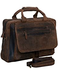 KomalC 16 Inch Retro Buffalo Hunter Vintage Leather Laptop Messenger Bag Office Briefcase College Bag For Men...