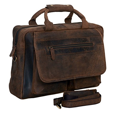 KomalC Leather Briefcase 15 Inch Retro Buffalo Hunter Leather Laptop Messenger Bag Office Briefcase College Bag Fits Upto 15.6 Inch Laptop (Distressed Brown) (Detail Flap Leather Satchel Bag)