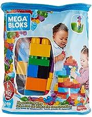 Mega DCH55 - First Builders Big Building Bag, 60 stora byggklossar i roliga färger och former, Passar Barn från 1 år och uppåt