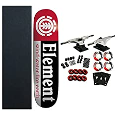 """Element Complete Skateboard Features Section Decl (7.75"""" x 31.5""""). Complete components include Core Trucks, 52mm TGM Logo Wheels, Amphetamine Abec 5 Bearings, Black Diamond Griptape, 1"""" Hardware and 1/8"""" risers."""