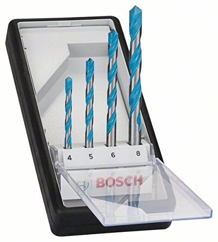 Bosch Professional - Juego de 4 brocas multiuso Robust Line CYL-9 MultiConstruction 4; 5; 6; 8 mm