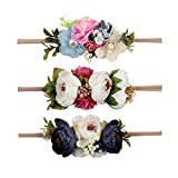 Ncmama Baby Girls Hair Bows Headbands Floral Stretch Nylon Bands For Toddler Kids Hairbands Pack Of 3