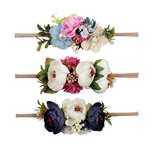 - Ncmama Baby Girls Hair Bows Headbands Floral Stretch Nylon Bands For Toddler Kids Hairbands Pack Of 3