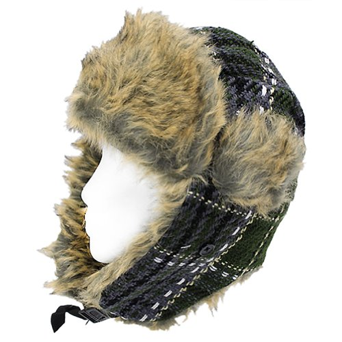 Plaid Design Faux Fur Trooper Aviator Trapper Cold Weather Winter Ski Cap Hat Green