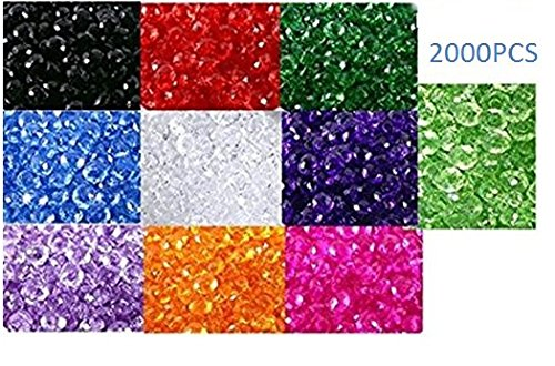 Sapphire Faceted Briolette Bead (jenifer2015 Wholesale Mix Lot Briolette Faceted Rondelle Crystal Glass Beads for Jewelry Making (6mm)